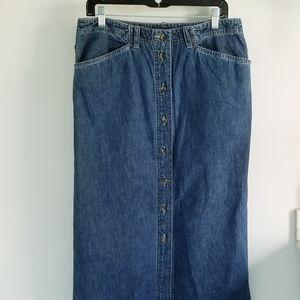 Jones Sport long denim button front skirt size 14